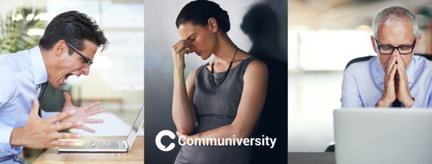 Menschen drücken Unruhe, Unausgeglichenheit und Stress aus.